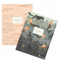 Mermaid Notebooks- Set of Two With Gold Accents