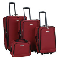 Rockland Luggage 4PC Set Red Suitcases SoftCase Rolling Expandable F106