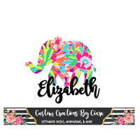Elephant Name Lilly Decal, Name Decal Monogram, Elephant Decal, Lilly car decal, Lilly Yeti decal Custom Decal