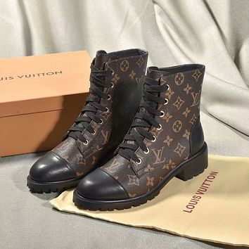 Louis Vuitton LV Monogram Women Casual Flats Shoes Boots