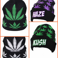Hot Winter Women Man Beanies Beanie Hat Knitting 5 Panel Weed Leaves Caps Hats Outdoor Skiing Caps Sport Beanies Cap High Quality F120 1p