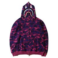 BAPE AAPE New fashion autumn and winter shark hat hooded camouflage couple keep warm coat Purple