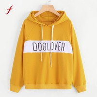 FEITONG Hoodies For Women Autumn Winter Print Letter Long Sleeve Top Casual Hooded Sweatshirt Blusa High Quality Hoody Pullover