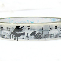 Black piano trumpet Silhouette and musical notes Deco Tape adhesive Stickers in white decor DT345