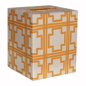 Cream & Yellow Tissue Box Cover by Worlds Away