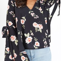 GIRLS ON FILM BLACK FLORAL PRINT TOP