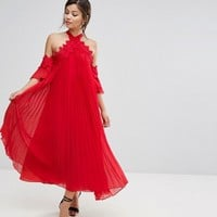 True Decadence Pleated Swing Dress with Cold Shoulder Detail at asos.com