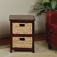 Traditional End Table With 2 Removable Straw Bins Home Furniture Espresso Finish