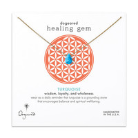 healing gem turquoise necklace, gold dipped, 16 inch
