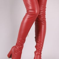 Fitted Vegan Leather Chunky Block Heeled Over-The-Knee Boots