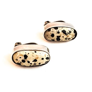 Dalmation Jasper vintage Mexico sterling silver clip on vintage earrings 925