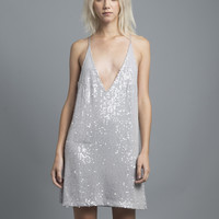Grey Sequin Slip Dress