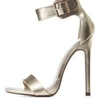 Gold Metallic Single Sole Ankle Strap Heels by Charlotte Russe