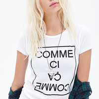 FOREVER 21 Comme Ci Comme Aa Tee White/Black