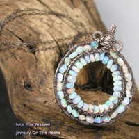 Ethiopian Opal Pendant Sterling Silver Wire Wrapped Circle, Fine Chain