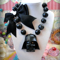 Star Wars Darth Vader Chunky Statement Necklace black  bow  swirl beads lord scifi science fiction geek nerd scene girly scyfy con