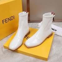 FENDI womens 2020 new office Logo-embossed leather knee boots shoes heels sock boot white
