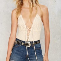 Lace on Lace-Up Bodysuit
