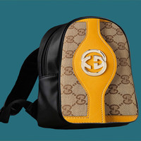 gucci yellow leather trim for Backpack / Custom Bag / School Bag / Children Bag / Custom School Bag ***