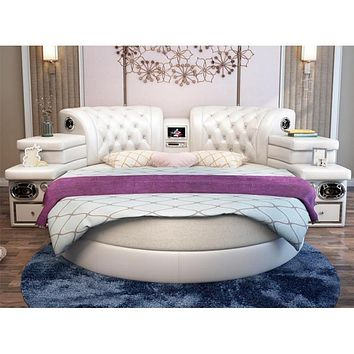 Modern Leather Round Bed Multi Function With Speaker, Massage