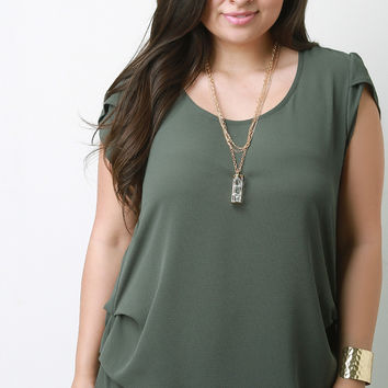 Textured Chiffon Tulip Sleeves Necklace Blouse Top