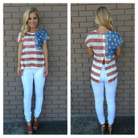 American Flag Slit Back Top