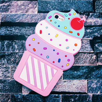 Hot New 3D Cherry Ice Cream Cartoon Capa Coque Soft Silicone Phone Cases Cover For iPhone 7 7Plus 4G 4S 5 5G 5S SE 6 6S 6Plus
