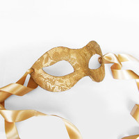 Gold Lace Masquerade Mask -  Lace Covered Venetian Mask