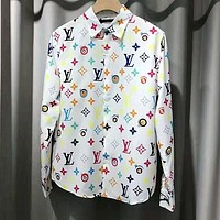 LV Louis Vuitton Fashion Print Long Sleeve Lapel Shirt Top