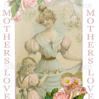 Mothers Love - digital collage sheet poster a4 room tags wall art