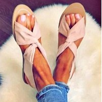 Fashion elastic round-headed casual flat-soled sandals