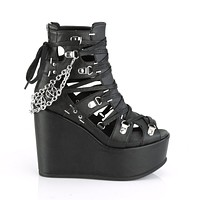 """Poison 95 Goth Punk Platform Cage Ankle Boots 5"""" Wedge"""