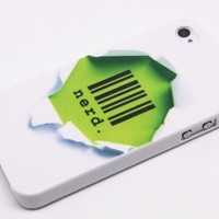 Funny Green Hole Barcode Nerd Hard Back Shield Case Cover for Iphone 4 4s
