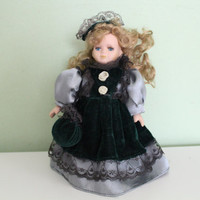 Vintage Porcelain Doll, Blonde Hair, Long Lashes, Green Dress, Collectible, Home Decor