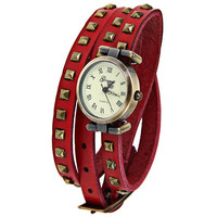 Red Leather Geneva Roman Numeral Watch