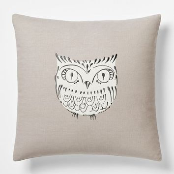 Embroidered Owl Pillow Cover