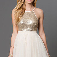 Short Tulle Party Dress with Sequin Embellished Bodice