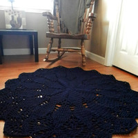 Giant Crochet Doily Rug in Geometric Petals Design- Navy Blue -Round Rug, large area rug- Cottage Chic- Oversized- shabby rug- nursery rug