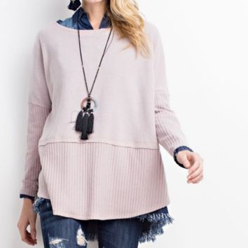 Soft Brushed Crewneck Tunic Sweatshirt