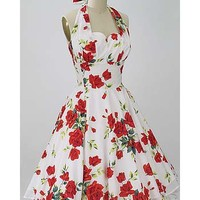 50s Style Red Rose Print Halter Swing Dress-Trashy Vintage Style Diva Dresses