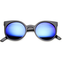 Round Cat Eye Colorful Mirror Lens Sunglasses 9782