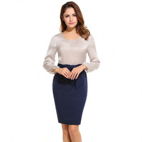 Women's Long Sleeve Patchwork Bow Bodycon Cocktail Party Dress