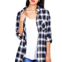 Plaid Pine Longline Flannel