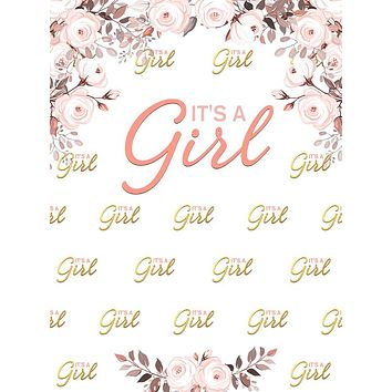 Custom Printed It's a Girl Floral Step and Repeat Backdrop - C0253