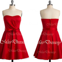 Strapless Sweetheart Mini Short Satin Red Bridesmaid Dresses, Wedding Party Dress, Cocktail Dress, Homecoming Dresses