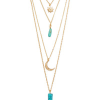 Blue Multi-Layer Pendant Necklace