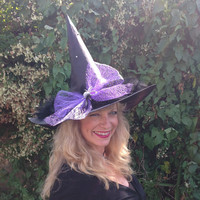 Glamorous Sparkly Witch Hat with Lilac Bow and Diamanté Spider Brooch and Black Feathers