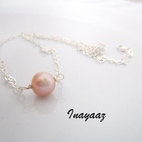 Pink Pearl Choker Necklace Genuine Freshwater Neutral Pastel Rose Simple Sterling Silver Jewelry Free Shipping