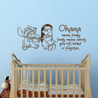 Wall Decal Ohana Means Family, Family Means Nobody Gets Left Behind Or Forgotten Lilo And Stitch Quote Nursery Kids Bedroom Home Decor Q173