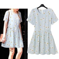 Fit and Flare Dress - Short Length / Light Blue with Floral Print